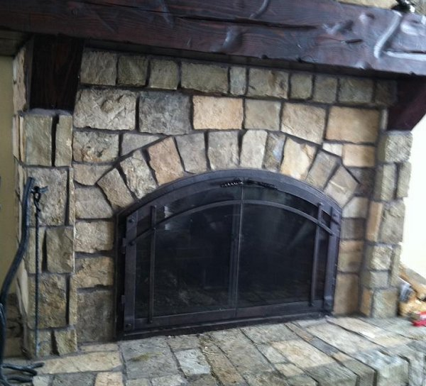 Handmade custom made wrought iron fireplace doors by tall for Custom wrought iron fireplace screens
